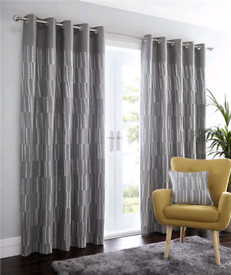 Striped Fully Lined Eyelet Curtains