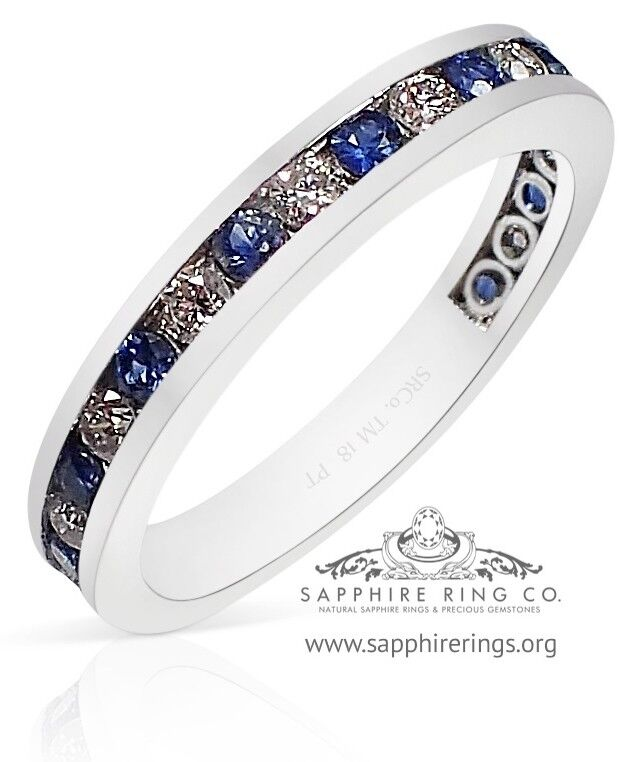 GIA G. G Certified Platinum .81 tcw Natural Blue Sapphire & Diamond Wedding Band