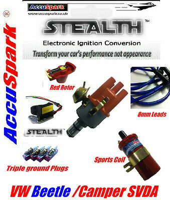 VW Beetle Electronic Distributor Coil,plugs,blue leads,red rotor ignition kit V2