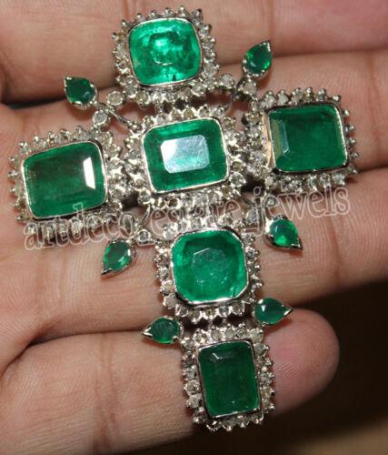 4.50ct ROSE CUT DIAMOND EMERALD 925 SILVER ANNIVERSARY VICTORIAN LOOK PENDANT