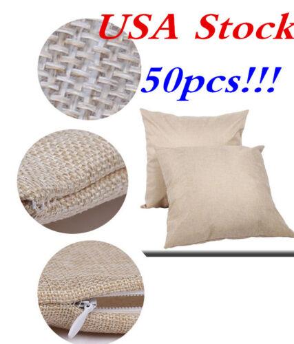 USA Stock 50pcs/carton Linen Sublimation Blank Pillow Case Fashion Cushion Cover