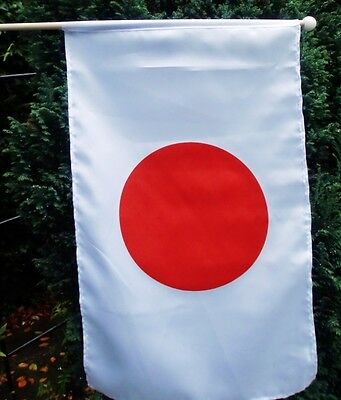 "JAPAN LARGE HANDWAVING FLAG 18"" X 12"" with 24"" wooden pole flags JAPANESE TOKYO"