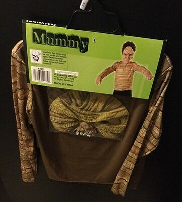 Mummy Kids Costume - Mummy Child Costume Mask Top Boys Size 5-7 Gold Green Halloween