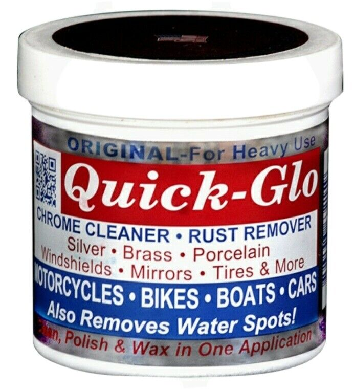 Quick-Glo Chrome Cleaner & Rust Remover Works On Hard Surfaces Non Toxic 8oz