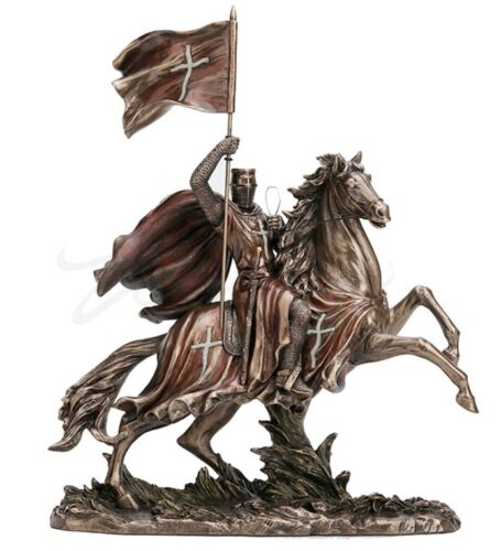 """12"""" Crusader Riding on Horse Statue Knights Templar Sculpture Medieval Times"""