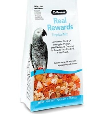 Zupreem REAL REWARDS TROPICAL MIX LARGE BIRD TREATS natural parrot food 6oz