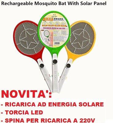 Racchetta anti zanzare ricarica solare 220V + torcia led.Fulmina insetti mosche
