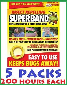 5-X-MOSQUITO-BUG-INSECT-REPELLENT-BAND-citronella-bracelet-wrist-NO-DEET-free