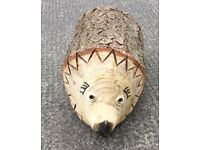 Hand made solid wooden garden hedgehog