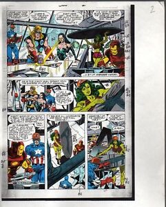 Original-Avengers-Marvel-color-guide-art-Thor-She-Hulk-Iron-Man-Captain-America