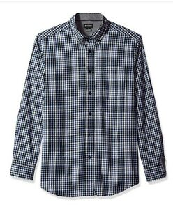 Haggar Men's Large Blue Gingham Flannel Shirt NWT for sale !