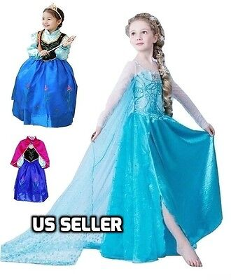 Disney Frozen Inspired Elsa Anna Party Dress Up Holiday Party Costume