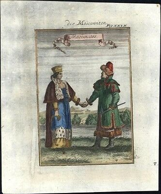Russia Moscovites Moscow natives costume 1719 antique engraved ethnic print