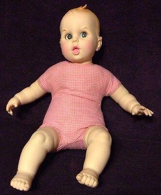 """Vtg GERBER BABY 17"""" Plush Plastic Doll 1979 Pink White Gingham Side Moving Eyes"""