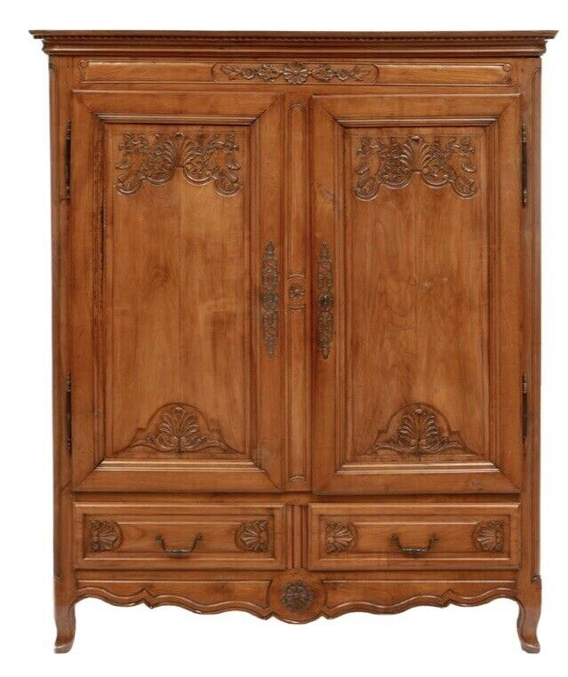 Large French Antique Walnut Louis XV Armoire / Wardrobe Cabinet