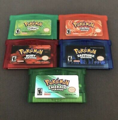 Pokemon Emerald Sapphire Ruby LeafGreen FireRed Gameboy GBA Cartridges Brand New