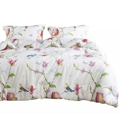 Wake In Cloud - Floral Duvet Cover Set, 100% Cotton, Botanical Flowers- Twin