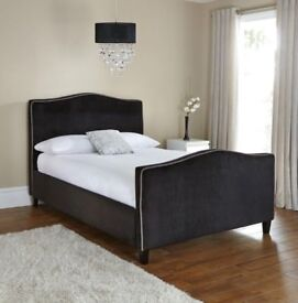 Aosta King Bed Frame with Curved Headboard/Footboard in Natural/Taupe colour BRAND NEW - BOXED!!