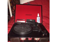 Red and black crosley cruiser record player