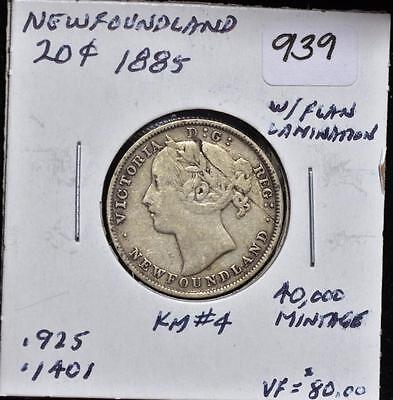 Canadian 1885 Silver 20 Cent Newfoundland Lot 256