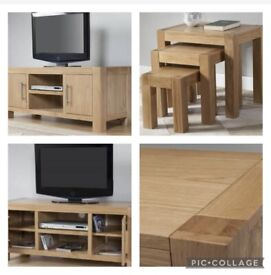 Solid Oak 3 Nest Stack Tables & Large Tv Unit ❤️ Can sell separately .. RRP over £800