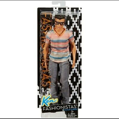 Barbie Fashionistas Ken Doll 3 Stylin' Stripes NIB