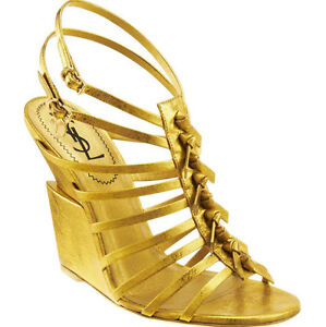 $1,085 YVES SAINT LAURENT SHOES 'TRYBAL' WEDGE GOLD SANDALS sz 40 / 10