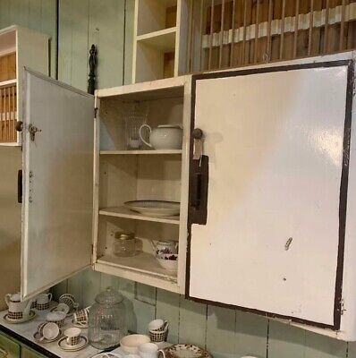 Pair of Antique Vintage Metal Cupboards Maybe English Rose Kitchen Cabinet
