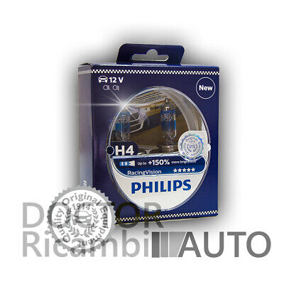 Kit lampade H4 X-TREME Racing Vision PHILIPS 150% più luce 12V 55W cod 12342RVS2