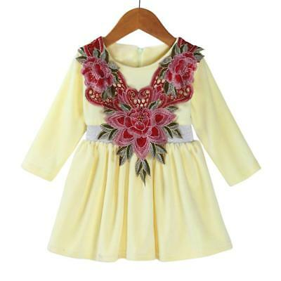 Toddler Kids Baby Girls Floral Warm Soft Princess Dress Outfits Clothes Clthing - Girls Clthing