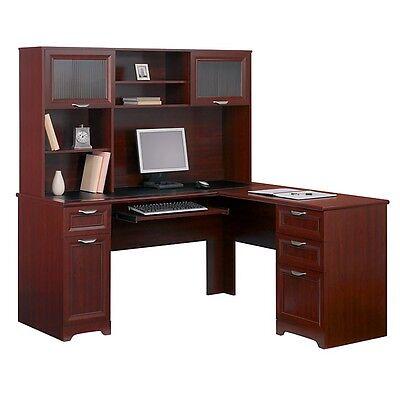 Contemporary L-Shape Computer Desk & Hutch - Cherry - 30