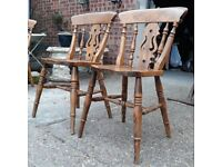 Pair Of Solid Oak Fiddle Back Windsor Style Dining Chairs