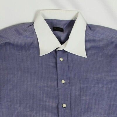 - Valentino Mens White Collar Blue Herringbone Shirt Striped Large 16.5 34/35 EUC