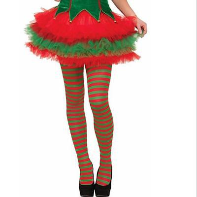 Womens Elf Tights Striped Red Green Christmas Fancy Dress Costume Knee Stockings