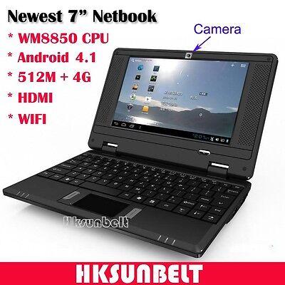 "7"" Android 4.1 Mini Netbook Notebook VIA WM8850 WiFi 512M 4GB HDMI Camera Black"