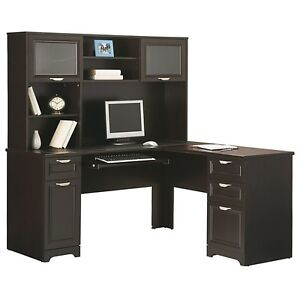 Contemporary L Shape Computer Desk Hutch Espresso 30 H X 58 3 4 W X 18 3 4 D