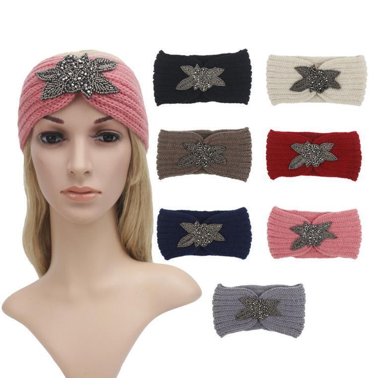 Women Crochet Knit Headband Rhinestone Bead Hairband Head Wrap Keep Warm mt
