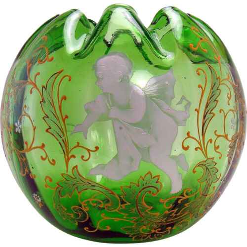 Hand-Painted Enameled Green Glass Rose Bowl with Angel