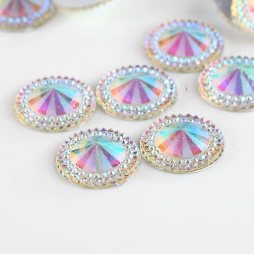 CraftbuddyUS 30pcs 20mm AB Clear Flatback Pointed Diamond Round Resin Gems, DIY