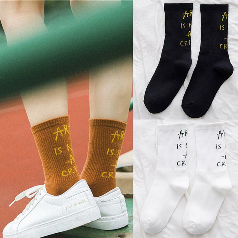 Women And Men's Letters printed Socks Cotton Letter Kntting  Floor Heap Socks