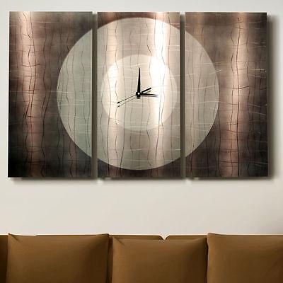 Statements2000 Large Modern Metal Wall Art Clock Panels Jon Allen Dynamic Onyx