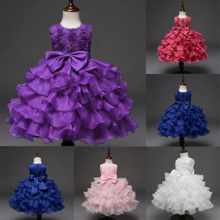 Kids Baby Girls Flower Birthday Wedding Bridesmaid Pageant Princess Formal Dress