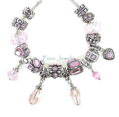 Rose Pink Crystal European Bead Spacer Flower Heart Dangle for Charm Bracelet