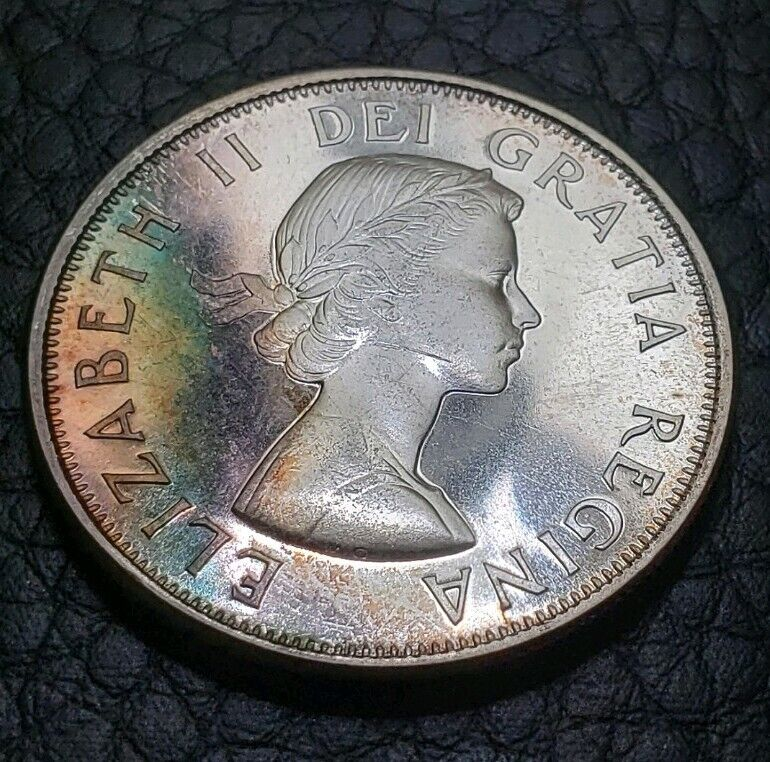 Toned PL 1964 Canada 50 Cents 1/2 Dollar | UNC Condition