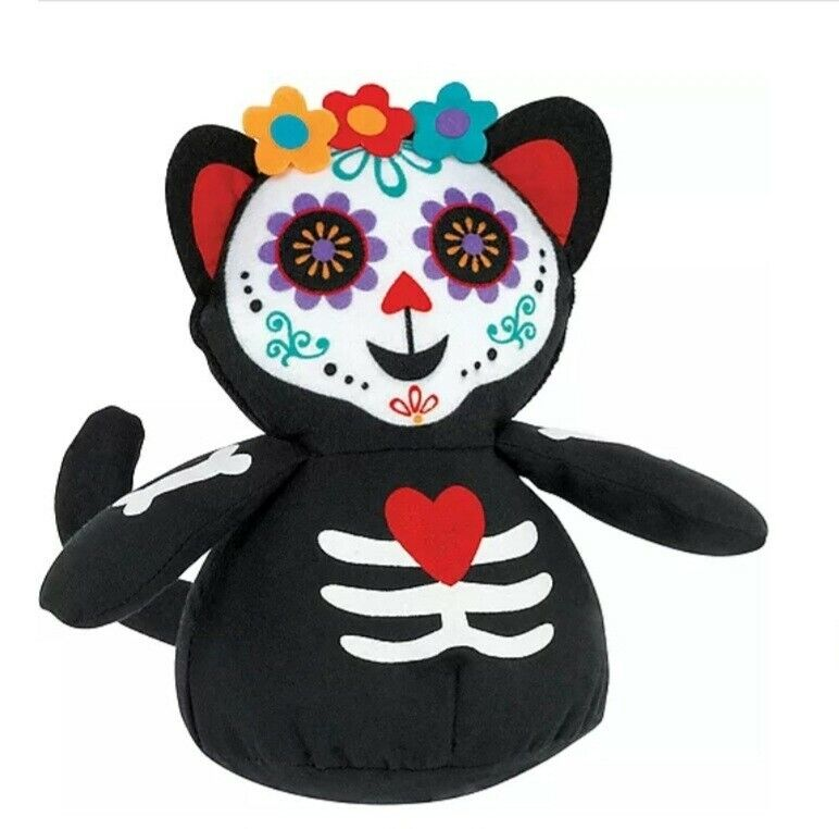 Halloween Decor Cat Day Of The Dead Dia De Los Muertos Plush Sugar Skull Gato