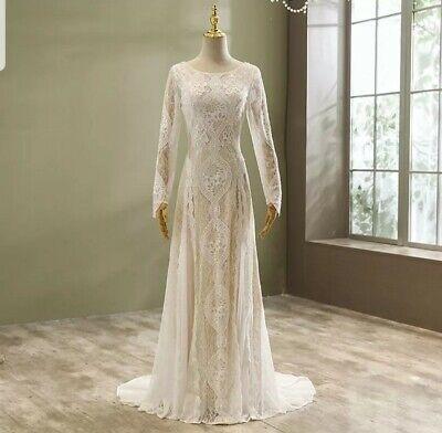 UK White Champagne Long Sleeve Lace Boho A Line Beach Wedding Dresses...