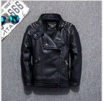 Boys Leather Jacket Casual Black Solid Children Outerwear Spring Leather Jackets - Kids Boys Leather Jacket