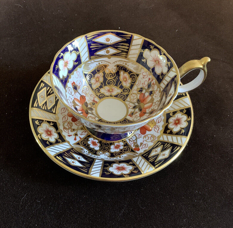 Royal Crown Derby Traditional Imari Footed Cup & Saucer Blue Gold Full Decorated