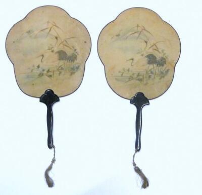 Two Subjects Fine Silk Japan Meiji 1860 Kranich
