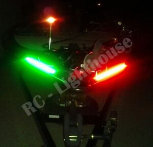 Bass Boat, fishing, kayak Bow Lighting Red / Green Navigation LED Kit 2 x 1' pc